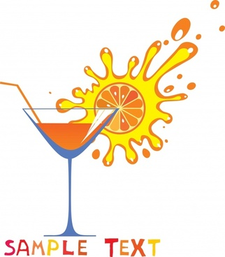 cocktail advertisement flat splashed orange juice wineglass sketch