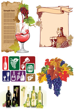 wine and grape vector graphics