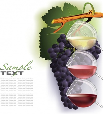 wine menu background grapes glass decor colorful modern