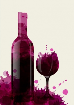 wine background bottle glass decoration violet grunge style