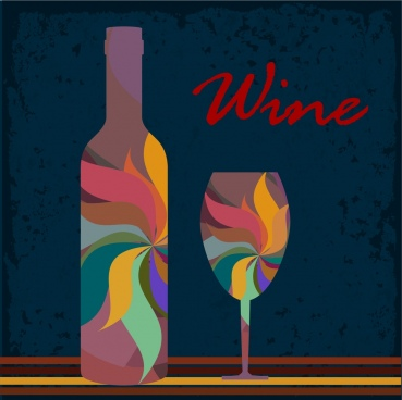 wine background colorful bottle and glass decoration
