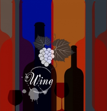 wine background silhouette bottles design grunge decoration