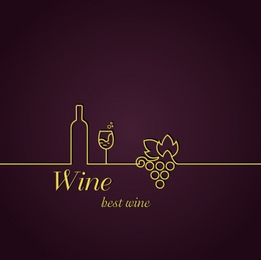 wine background silhouette style bottle glass grapes decoration
