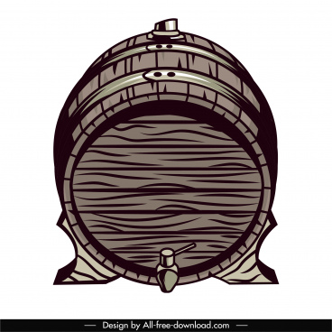 wine barrel icon retro handdrawn sketch
