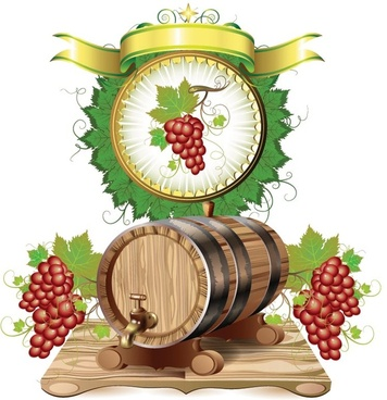 wine barrels and grapes vector