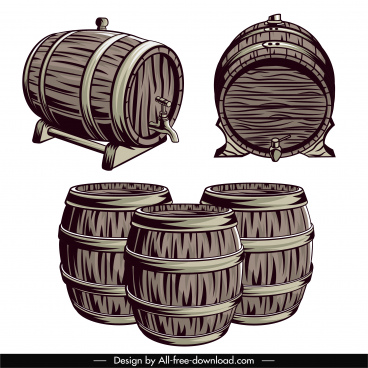 wine barrels icons handdrawn retro sketch