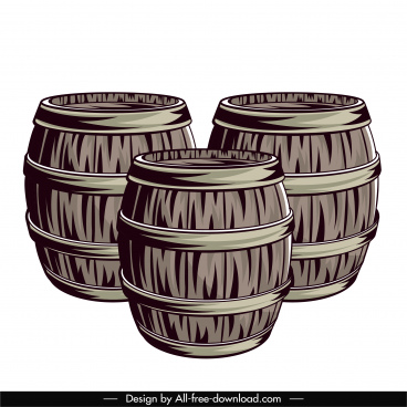 wine barrels icons vintage handdrawn design