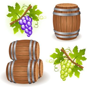 wine barrels vector