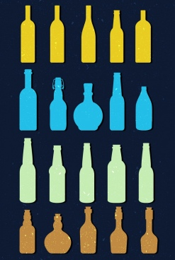 wine bottle icons collection multicolored flat shapes