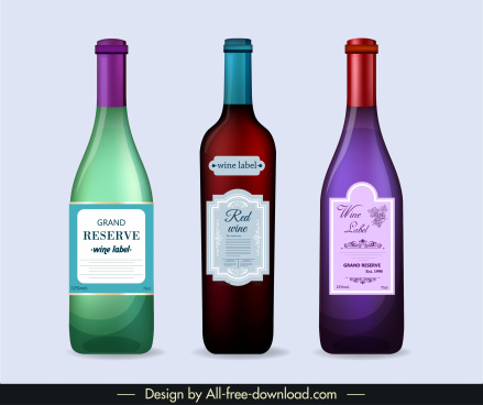 wine bottle icons elegant colored classic flat sketch