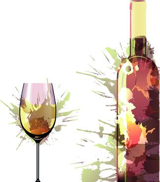 wine bottle with splash effect vector
