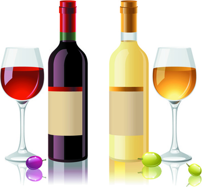 wine bottles and wineglass vector set