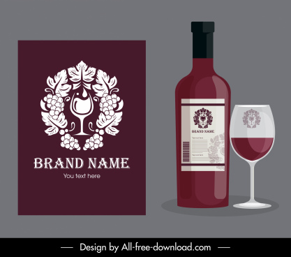 wine brand identity template elegant flat symmetric decor