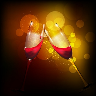 wine cheering background sparkling bokeh backdrop clinked glasses