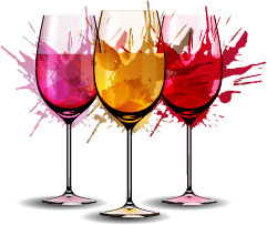 wine cup with watercolor vector