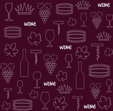 wine design elements background violet repeating design