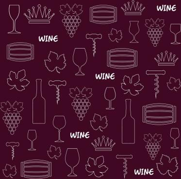 wine design elements background violet repeating design