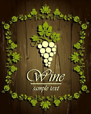 wine elements frames background vector