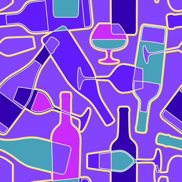wine elements seamless pattern vector