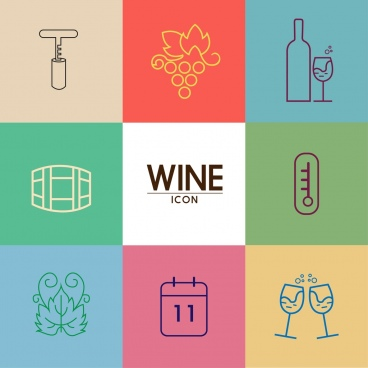 wine icons design elements flat colored sketch