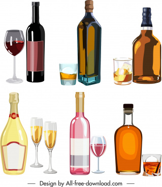 wine icons shiny colored bottles cups glasses sketch