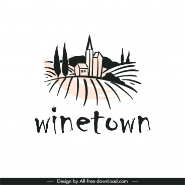wine label design element classical handdrawn scenic sketch