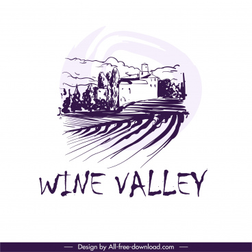 wine label design elements retro handdrawn field scene
