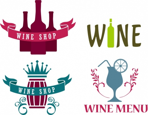wine logo design elements retro style texts decoration