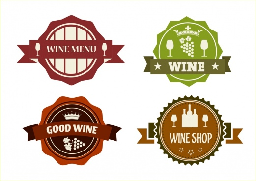 wine logo sets classical style ribbon serrated decoration