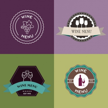 wine logo sets various circle styles flat decoration