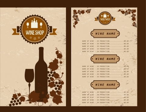 wine menu design grapes bottle glasses decoration