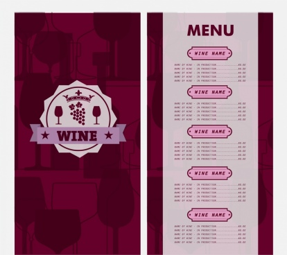 wine menu design violet vignette decoration