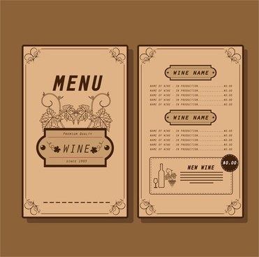 wine menu template traditional design on dark background