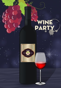 wine party banner multicolored bottle glass grapes icons