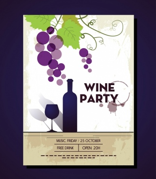 wine party leaflet colorful grapes bottle glass decoration