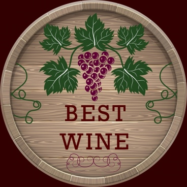 wine quality label classical wooden barrel grapes decoration
