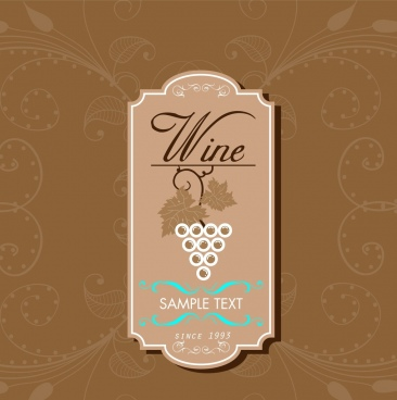 wine tag design brown vertical retro style