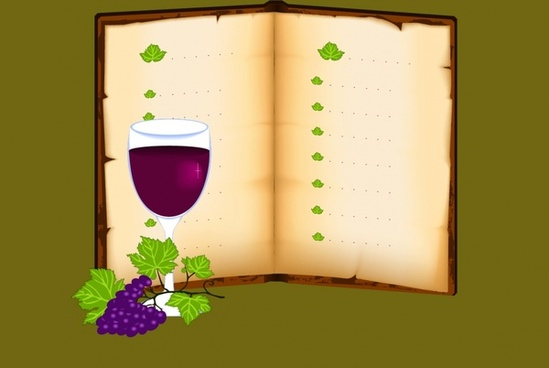 wine menu template open book grape icons retro decor