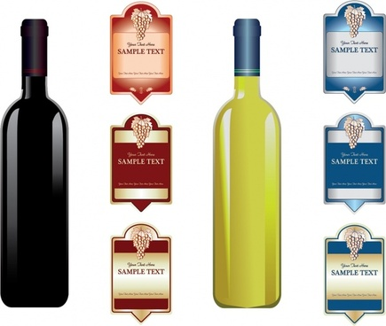 grape wine label templates classical colored decor