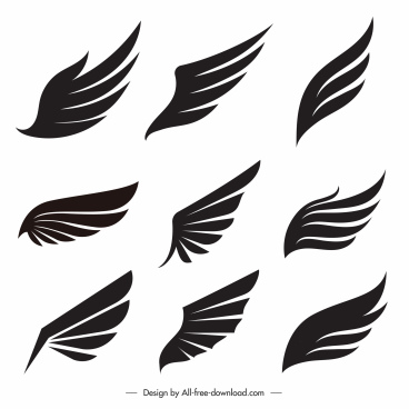 wing icons flat silhouette handdrawn sketch