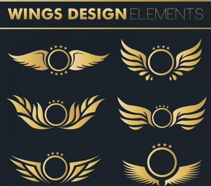 wings design elements shiny yellow flat decor
