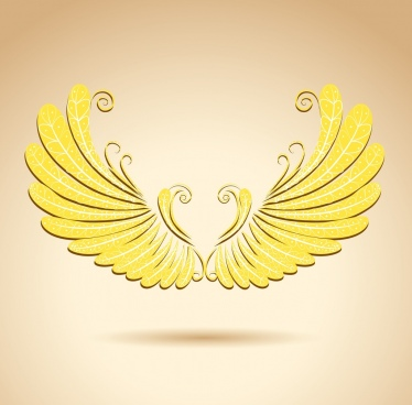 wings icon shiny golden design luxury style