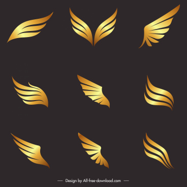 wings icons modern shiny golden shapes