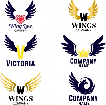 wings logotypes collection various flat design