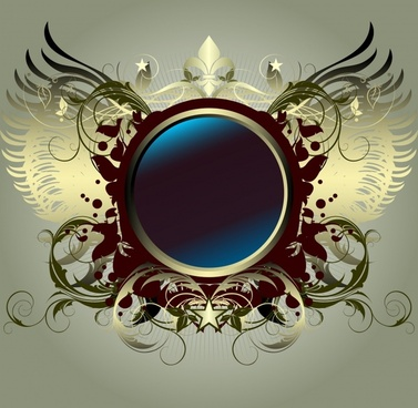 decorative background wings sphere icon modern symmetrical design