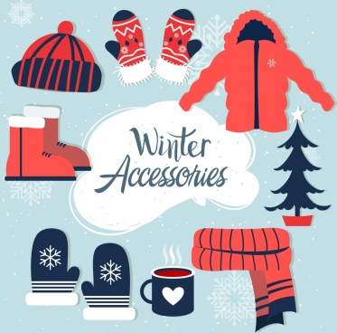 winter accessories design elements colored icons