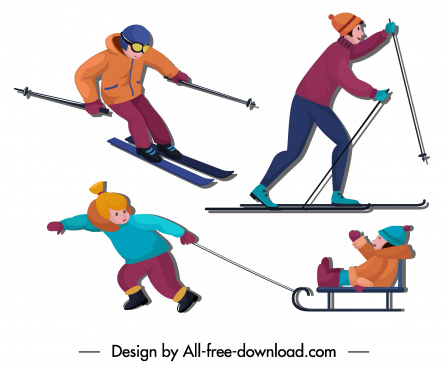 winter activities icons joyful people sketch cartoon characters