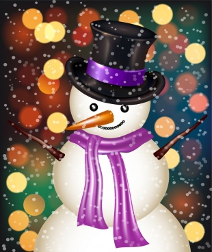 winter backdrop snowman icon shiny colorful bokeh decor