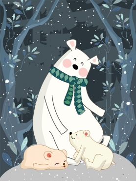 winter backdrop stylized white bears snowfall icons