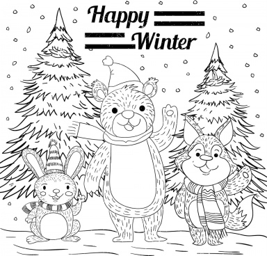winter background bear rabbit fox icons handdrawn sketch